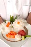 Chef présent la plaque du sashimi decrative Images libres de droits