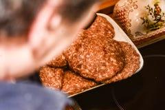 Chef  prepare  his  burgers Royalty Free Stock Image