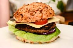 Chef  prepare  his  burgers Stock Image