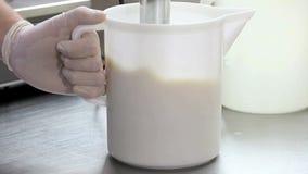 Chef prepare ice cream with professional machine stock footage