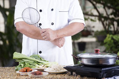 Chef prepared cooking with noodle ingredient Royalty Free Stock Photography