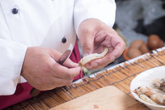 Chef prepared shrimp before cooking Stock Photography