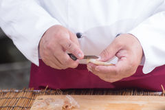 Chef prepared shrimp before cooking Royalty Free Stock Photo