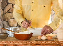 The chef prepares the dough Stock Photography