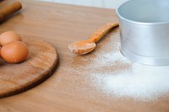 The chef prepares the dough - the process of making dough in the kitchen stock photos