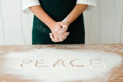 The chef prepares the dough - the process of making dough in the kitchen royalty free stock photography