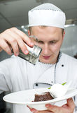 Chef prepares a meal Stock Photo
