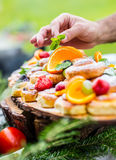 Chef prepares a plate of cakes with fresh fruits. He is working on the herb decoration. Outdoor garden party Royalty Free Stock Image