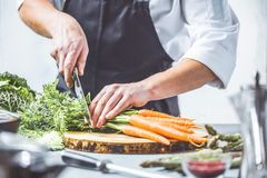Free Chef Prepares Vegetables To Cook In The Restaurant Kitchen Royalty Free Stock Photography - 125097077