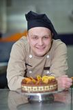 Chef preparing desert cake in the kitchen Royalty Free Stock Photography