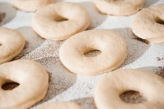 Chef preparing dough - cooking donuts process in the kitchen stock photos