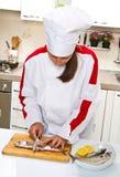 chef preparing fillet of mackerel Royalty Free Stock Images