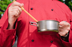 Chef preparing food, isolated Royalty Free Stock Images