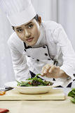 Chef preparing salad Royalty Free Stock Photo