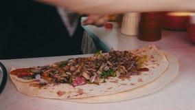 Chef Preparing Shawarma stock footage
