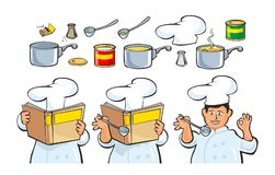 Chef preparing soup and reading recipe cookbook. Royalty Free Stock Photography