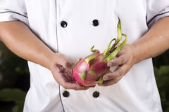 Chef presend dragon fruit Royalty Free Stock Images