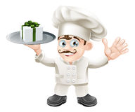 Chef with present. Illustration of a chef with a present on a silver platter Stock Images