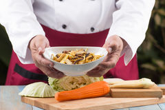 Chef present bowl of  vegetarian Noodle Stock Image
