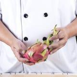 Chef present dragon fruit Stock Photo