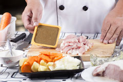 Chef present Japanese curry paste and ingredient Royalty Free Stock Images