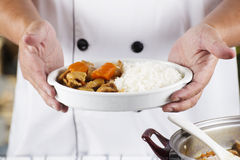Chef presented Japanese pork curry with steam rice Stock Photos