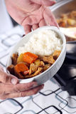 Chef presented Japanese pork curry with steam rice Stock Photo