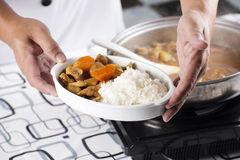 Chef presented Japanese pork curry with steam rice Stock Images