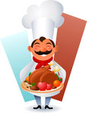 Chef presenting a chicken dish. Chef presenting a tasty meal royalty free illustration
