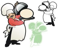 Chef Presenting Copy Space. Proud chef takes the cover off a place to put your message or logo stock illustration