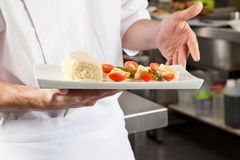 Chef Presenting Dish In Kitchen Stock Photos