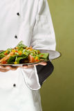 Chef Presenting Healthy Chicken Salad. Close-Up of Chef Presenting Plate with Healthy Chicken Salad Stock Photo