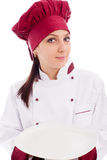 Chef presenting her dish Royalty Free Stock Image