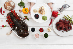 Chef presenting italian traditional meal, flat lay Stock Photography