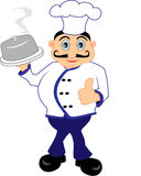 Chef Presenting A Meal. A smiling chef with mustache presenting a perfectly done meal stock illustration