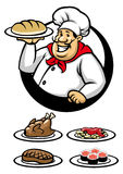 Chef presenting a plate of dish. Vector of chef presenting a plate of dish royalty free illustration