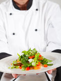 Chef presenting salad Royalty Free Stock Photos