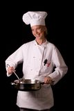 Chef Presenting Skillet Stock Image