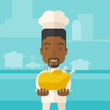 Chef presenting a tasty cooked turkey. A black young chef presenting a tasty cooked turkey for thanksgiving celebration. A contemporary style with pastel palette royalty free illustration
