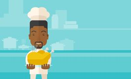 Chef presenting a tasty cooked turkey. A black young chef presenting a tasty cooked turkey for thanksgiving celebration. A contemporary style with pastel palette vector illustration