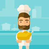Chef presenting a tasty cooked turkey. A young chef presenting a tasty cooked turkey for thanksgiving celebration. A contemporary style with pastel palette blue vector illustration