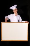 Chef Presents Blank White Board Royalty Free Stock Photography