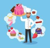 Chef principal avec l'illustration de vecteur de couleur de boulangerie illustration de vecteur