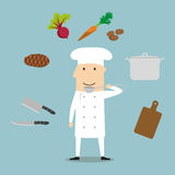 Chef profession, utensil and vegetables Royalty Free Stock Photos