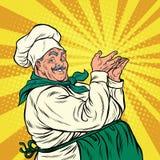 Chef professional pose presenting. Pop art retro vector illustration. Smiling cooking vector illustration
