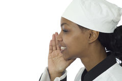 Chef profile whispering Stock Photos
