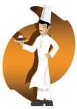 Chef proud to present his cake. Illustration of chef with chocolate cake on abstract background stock illustration