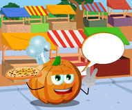 Chef pumpkin with pizza gesturing the peace sign on the market with speech bubble Stock Image