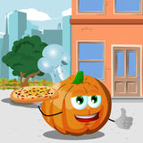 Chef pumpkin with pizza showing thumb up in the city Royalty Free Stock Images