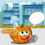 Chef pumpkin with pizza and tablet in the city with speech bubble Stock Images